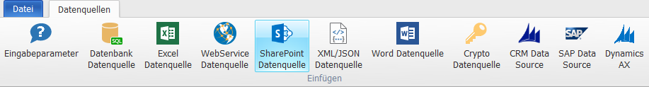 SharePoint Data Source - Daten aus Microsoft® SharePoint in Dokumente integrieren.