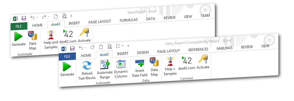 dox42 Enterprise Add-In - Integrate data, generate documents, automate Office.