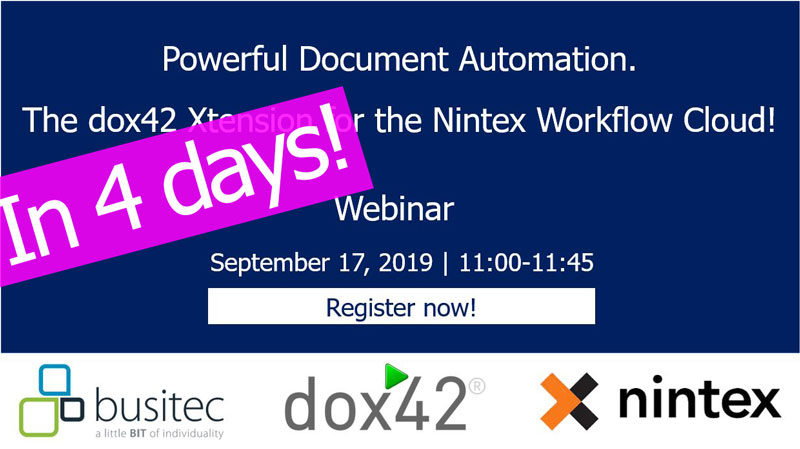 "In 4 days! Webinar ""The dox42 Xtension for the Nintex Workflow Cloud!"" Registration still possible"