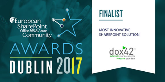 dox42 named finalist for the Most Innovative SharePoint Solution Award - Winner will be announced at ESPC17!