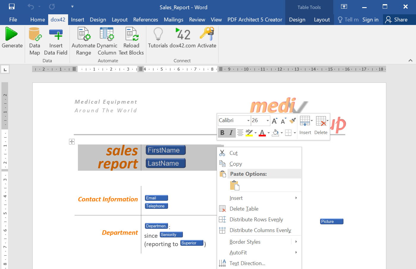 Template design in Microsoft® Office