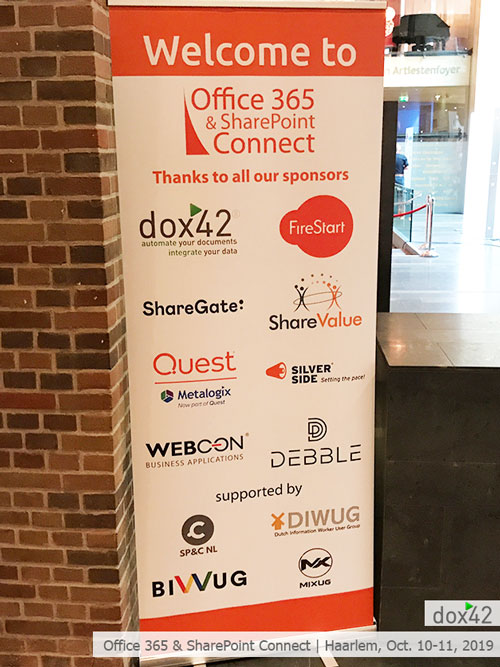 dox42 has been at the Office 365 & SharePoint Connect conference in the beautiful city of Haarlem