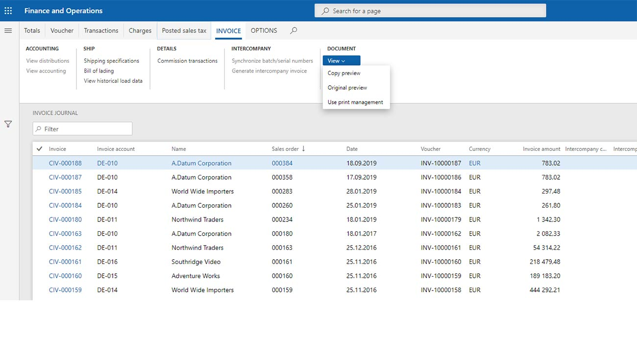 Document generation directly from Dynamics 365 Finance and Operations