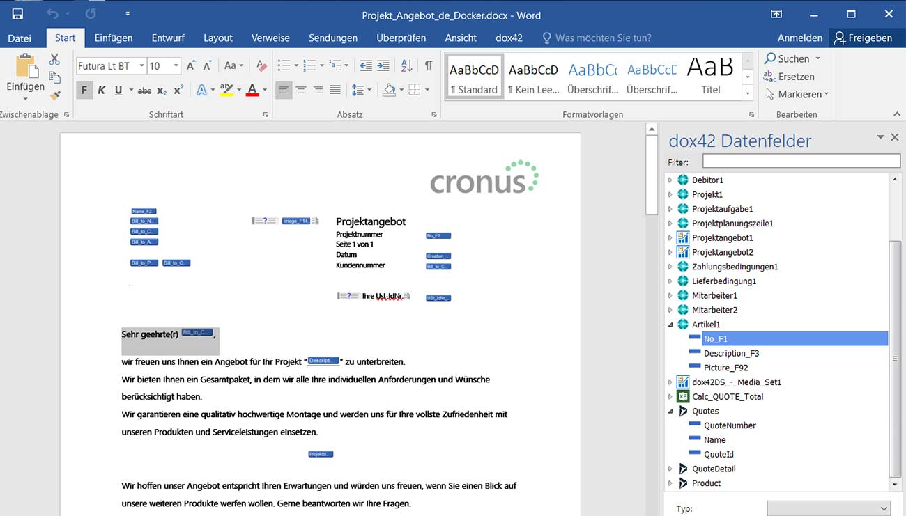 Template design in Microsoft Office