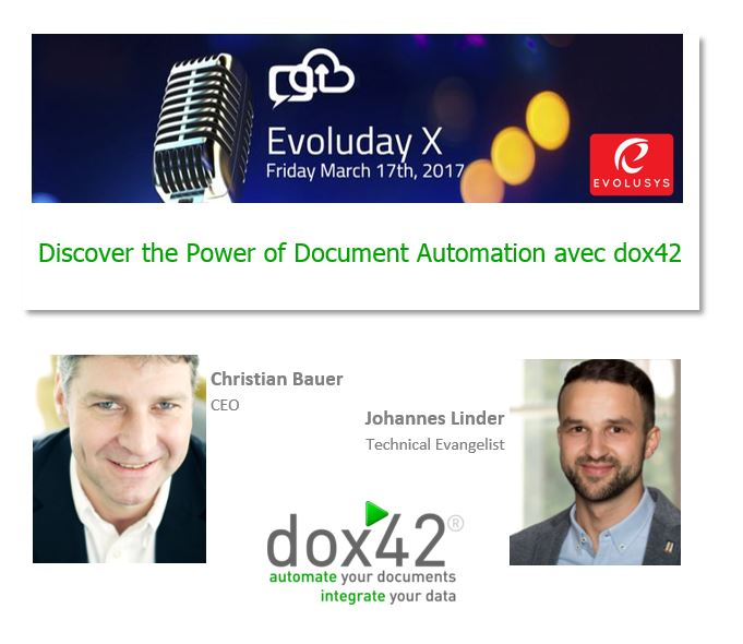 """Discover the Power of Document Automation avec dox42"" am Evoluday, 17.3. in Genf"