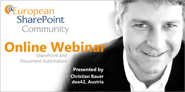 "Einladung zu ""SharePoint and Document Automation"" - Webinar am 19.9."