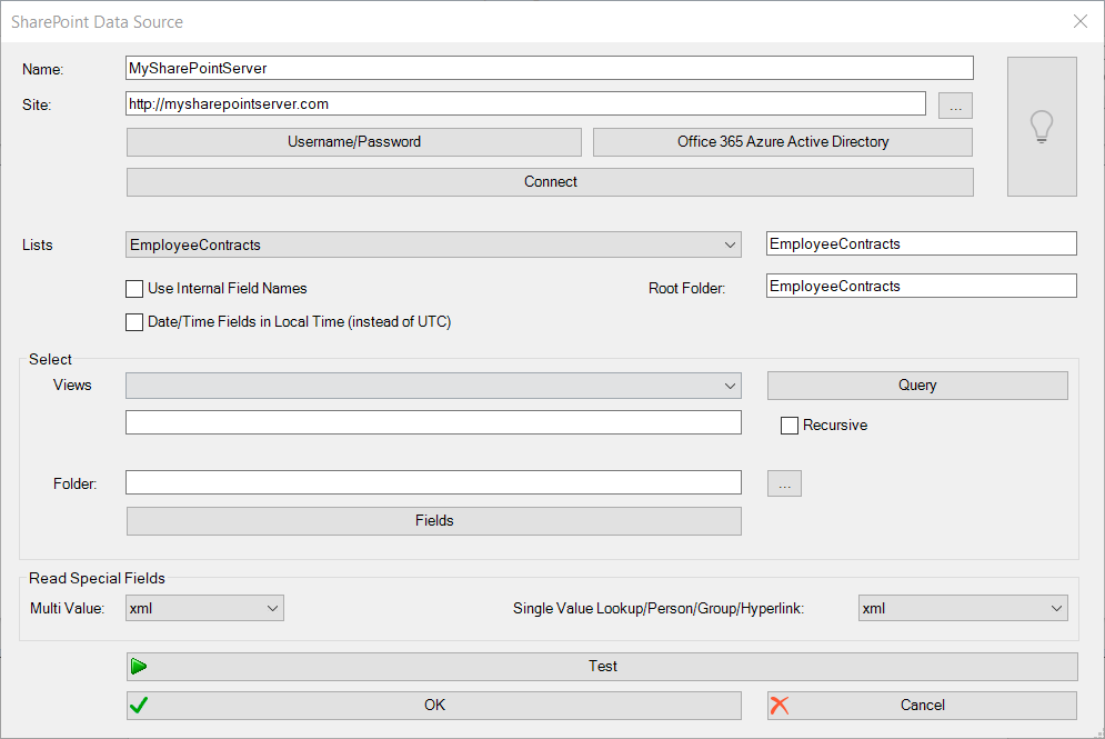 SharePoint Data Source Maske