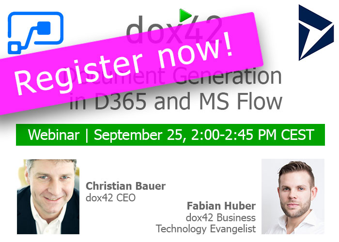 "Tomorrow! Webinar ""Document Generation in D365 and MS Flow"" - Registration still possible!"