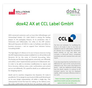 Case Study dox42 at CCL Label GmbH