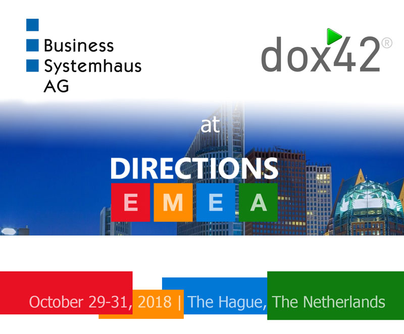 Save the date: Directions EMEA with BSH AG and dox42, October 29-31 in The Haag