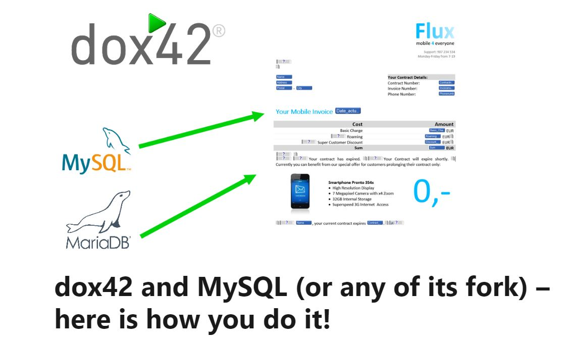 "dox42 Professional Louis knows how it works: ""dox42 and MySQL (or any of its fork) – here is how you do it!"""