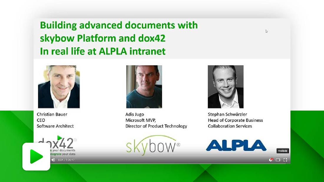 Building advanced documents with skybow Platform and dox42 - in real life at ALPLA intranet